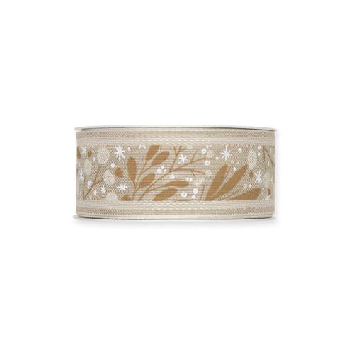 Natural Linen Colour 40mm/1.5 Inch Wide Ribbon Mistletoe Motif