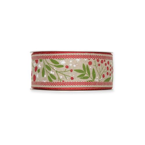 Natural Linen Colour 40mm/1.5 Inch Wide Ribbon Mistletoe Motif Red Green