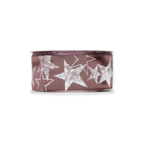 Printed Festive Ribbon 4cm/1.5 Inches Dusky Berry