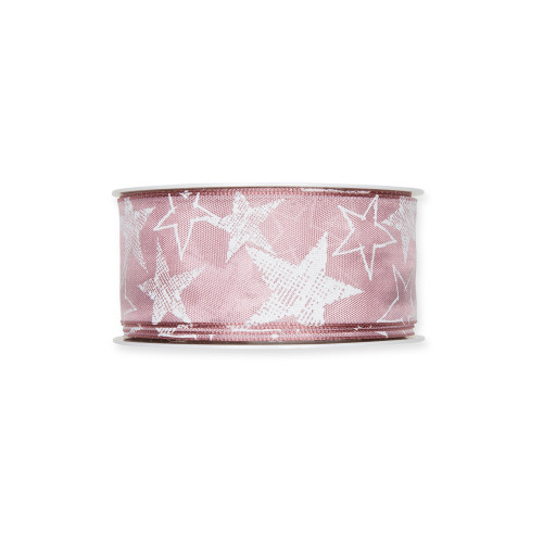 Printed Festive Ribbon 4cm/1.5 Inches Dusky Pink