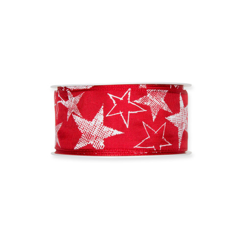 Printed Festive Ribbon 4cm/1.5 Inches Red