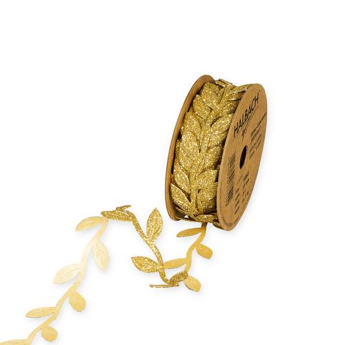 Punched Leaf Design Ribbon Glitter Gold