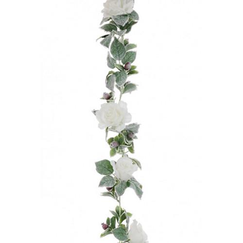 Faux Silk Snowy Rose Winter Garland