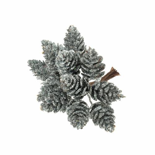 Small Artificial Pine Cones on Wire Glitter Silver
