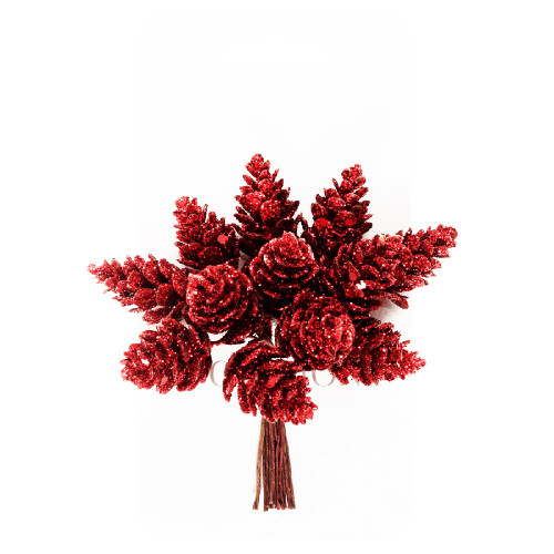 Small Artificial Pine Cones on Wire Glitter Red