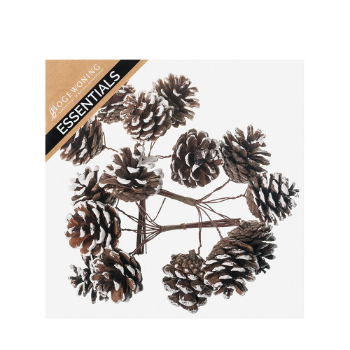Box of 15 Small Natural Pine Cones On Wires With Snow