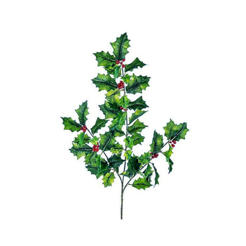 Faux Silk Holly Spray Green With Red Berries