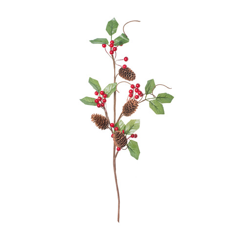 Natural Pine Cone and Artificial Berry Stem red