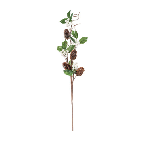 Natural Pine Cone and Artificial Berry Stem White