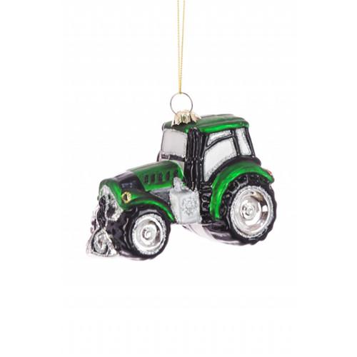 Glass Farm Tractor Hanging Tree Ornament Green