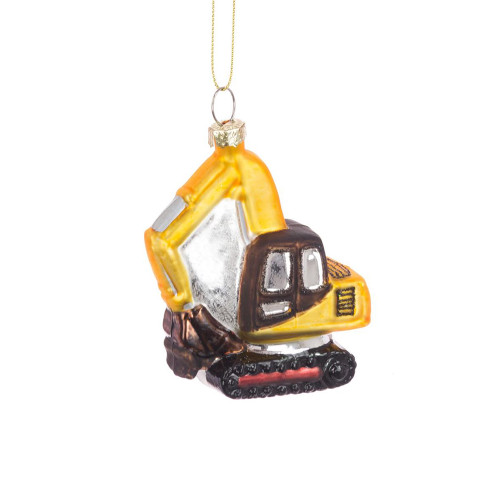Glass Digger Earth Mover Hanging Tree Ornament Yellow