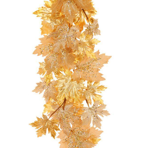Luxe Gold and Glitter Artificial Maple Leaf Garland