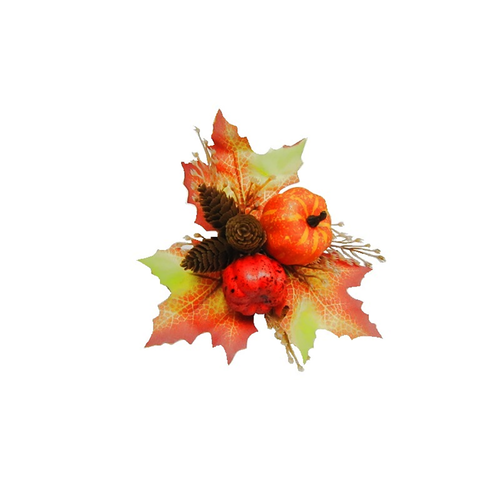 Artificial Autumn Pumpkin Pick With Leaves