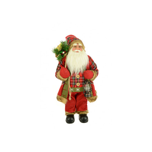 Standing Highland Santa Figure With Sack and Lamp