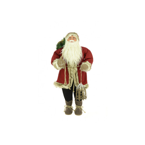 Standing Rustic Santa Figure With Sack and Lamp
