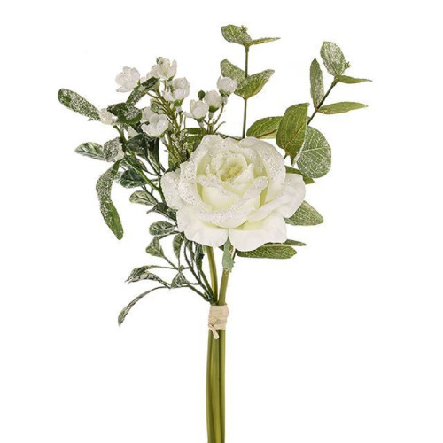 Faux Silk White Rose And Mistletoe Frosted Bunch