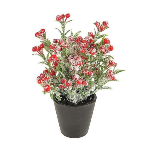 Potted Artificial Red Snowberry With Fake Snow