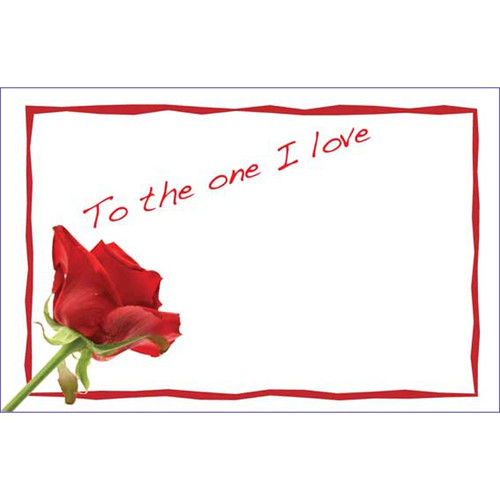 "Valentine Gift Card x 50  ""To the one I love"""