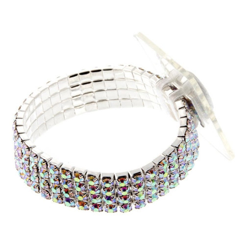 Corsage Bracelet Rock Candy Diamonte 1.5cm Silver