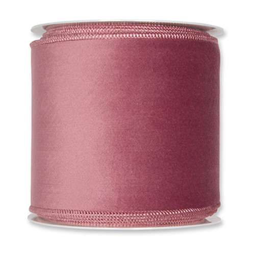 Velvet Fabric Ribbon 100mm x 8m Dusky Pink