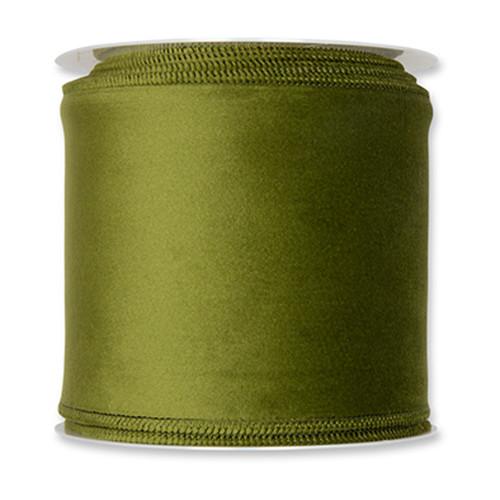 Velvet Fabric Ribbon 100mm x 8m Green