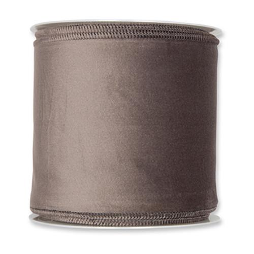 Velvet Fabric Ribbon 100mm x 8m Grey