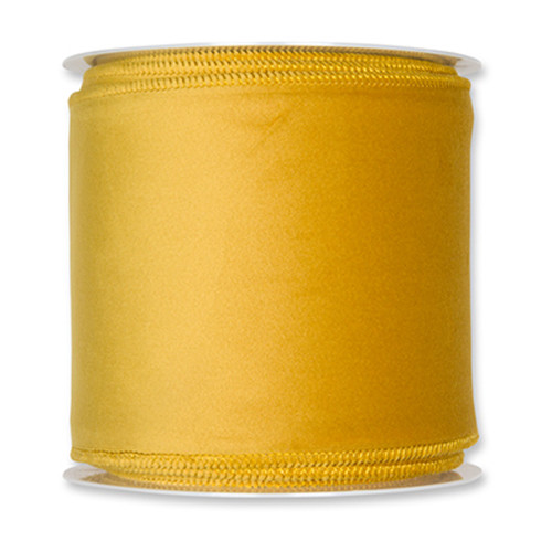 Velvet Fabric Ribbon 100mm x 8m Mustard Yellow