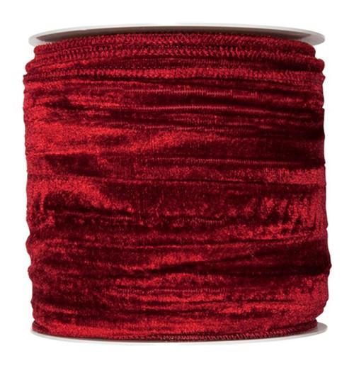 Velvet Crushed Ribbon 100mm x 8m Wine Red
