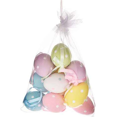 Hanging Easter Eggs 6cm Pastel Polka Dot x 12