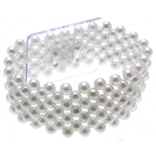 White Pearl Beaded Corsage Bracelet 2.5cm