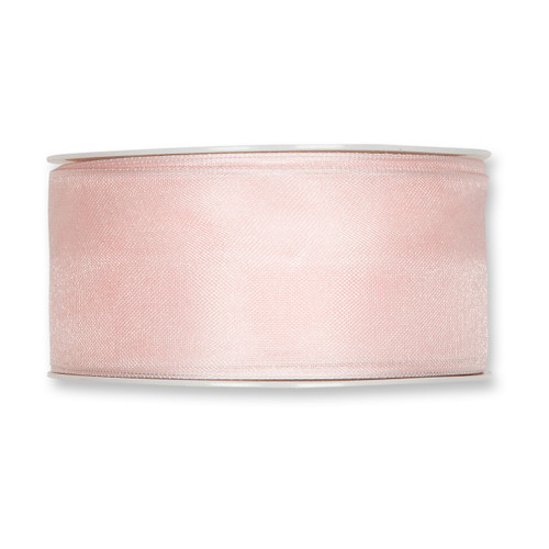 Organza Ribbon 40mm Blush Pink x 25m
