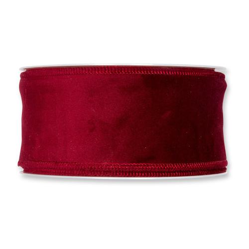 Velvet Fabric Ribbon 50mm x8m Burgundy Red