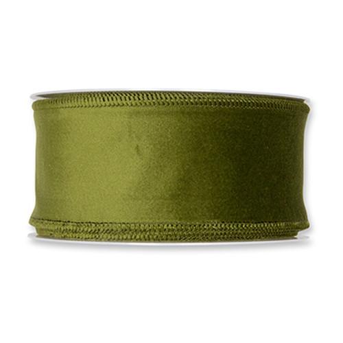 Velvet Fabric Ribbon 50mm x8m Green