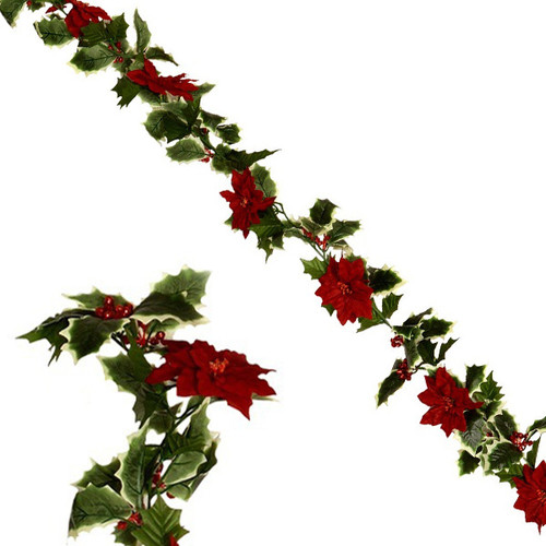 Christmas Garland Red Poinsettia & Holly 6ft