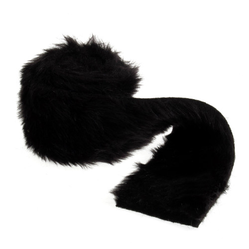 Faux Fur Ribbon Trim 8cm/3 Inches x 2m/6.6ft Roll Black