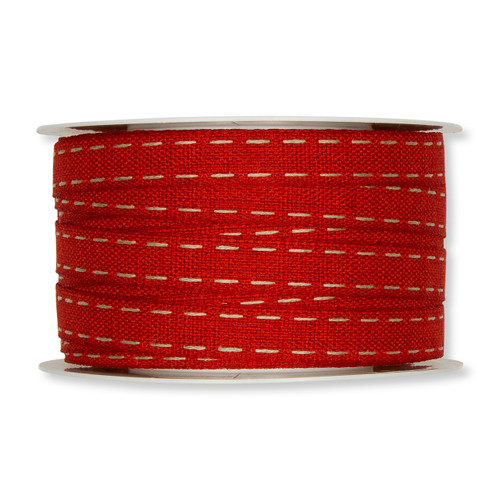 Red 12mm Fabric Ribbon with Natural Linen Lockstitch Design  x 30m