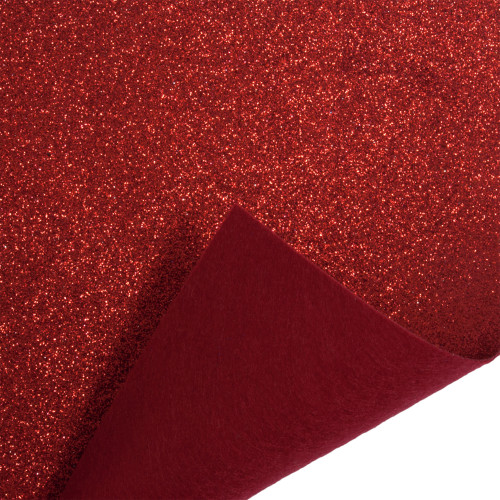 Acrylic Felt Roll 45cm Wide on a 1m Roll Glitter Red