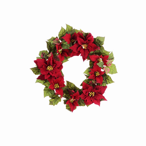 Poinsettia Red and Green Christmas Wreath Artificial 55cm