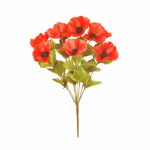 Poppy Bouquet 9 Red Artificial Heads 43cm