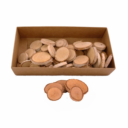 Birch Wood Slices Round Assorted Sizes 2-4cm Box of 60
