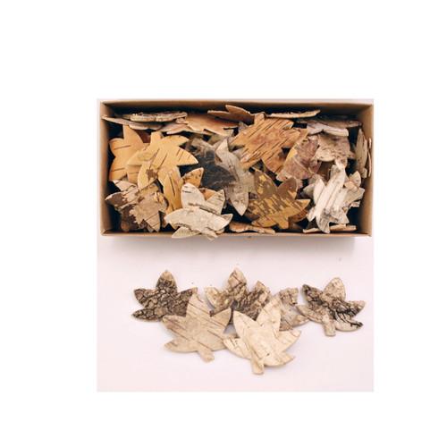 Birch Bark Flat 5cm Maple Leaf Shapes x 80