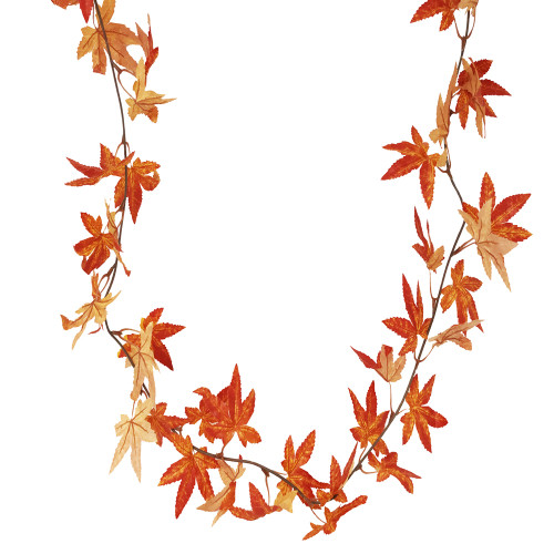 Autumn Orange Artificial Maple Vine 1.8m/6ft x 56 Leaves