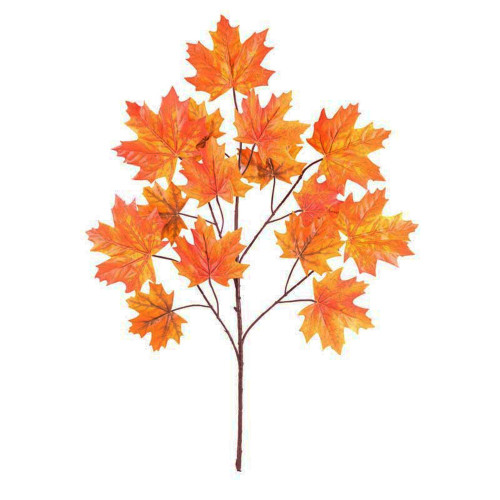 Autumn Orange Artificial Maple Leaf Spray with 15 Leaves 70cm