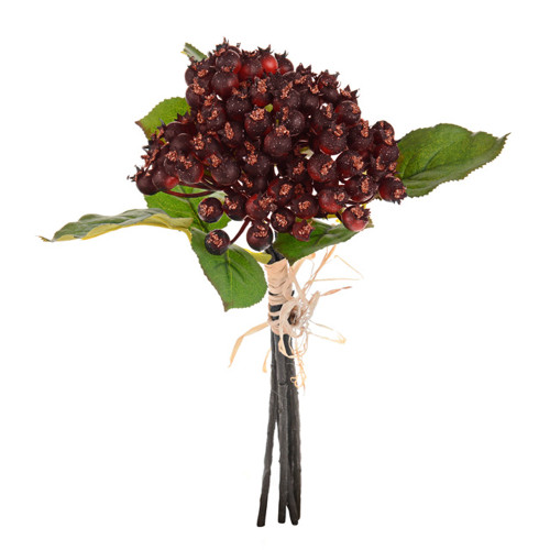 Hawthorn Berry Bundle 5 Stems 33cm/13 Inch Tall Burgundy