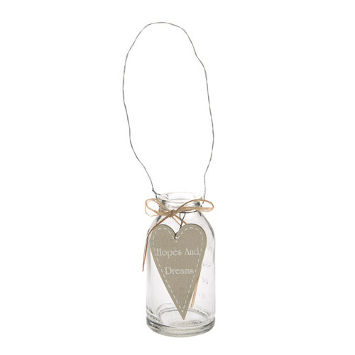 Glass Mini Bottle 10cm with Hanger and with Hopes and Dreams Heart Tag