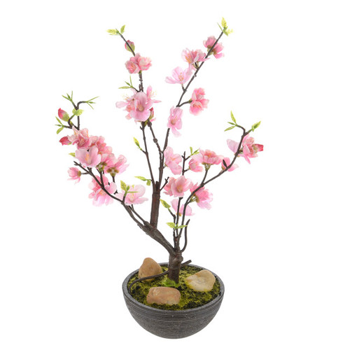 Artificial Silk Cherry Blossom in Pot Pink 32cm/12.5 Inches