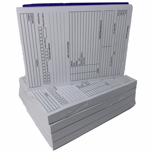 Pack of 5 x Florist's Order Pads 210mm x 120mm
