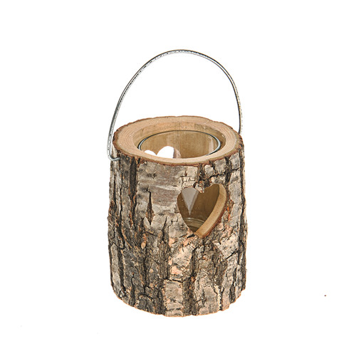 Log Candle Holder 10cm With Heart Cutout and Handle 10cm