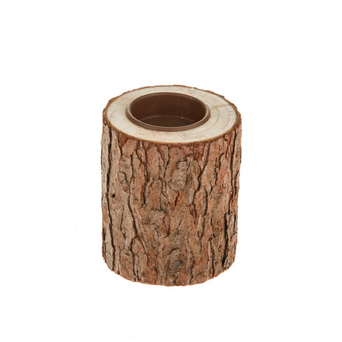 Wooden Log Natural Tealight Holder 9cm
