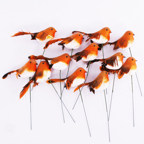 Christmas Robin on a Wire 11cm/4.5 Inches x Pack of 12